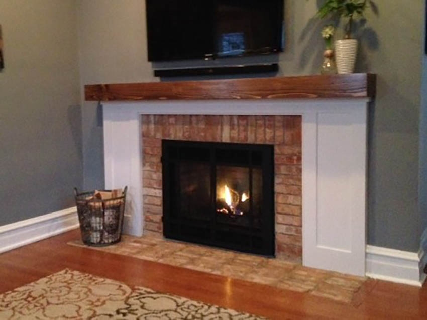 Chicago brick fireplace