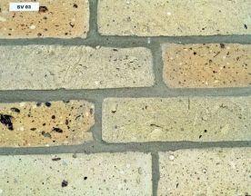 Fossilcut ™ Sawn Face Cream City Brick Veneer Tile Flecked Hand Molded Clay Sample