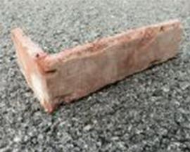 "St. Louis Thin Brick Veneer Tile, ""L"" Shaped Corner Red Sample"